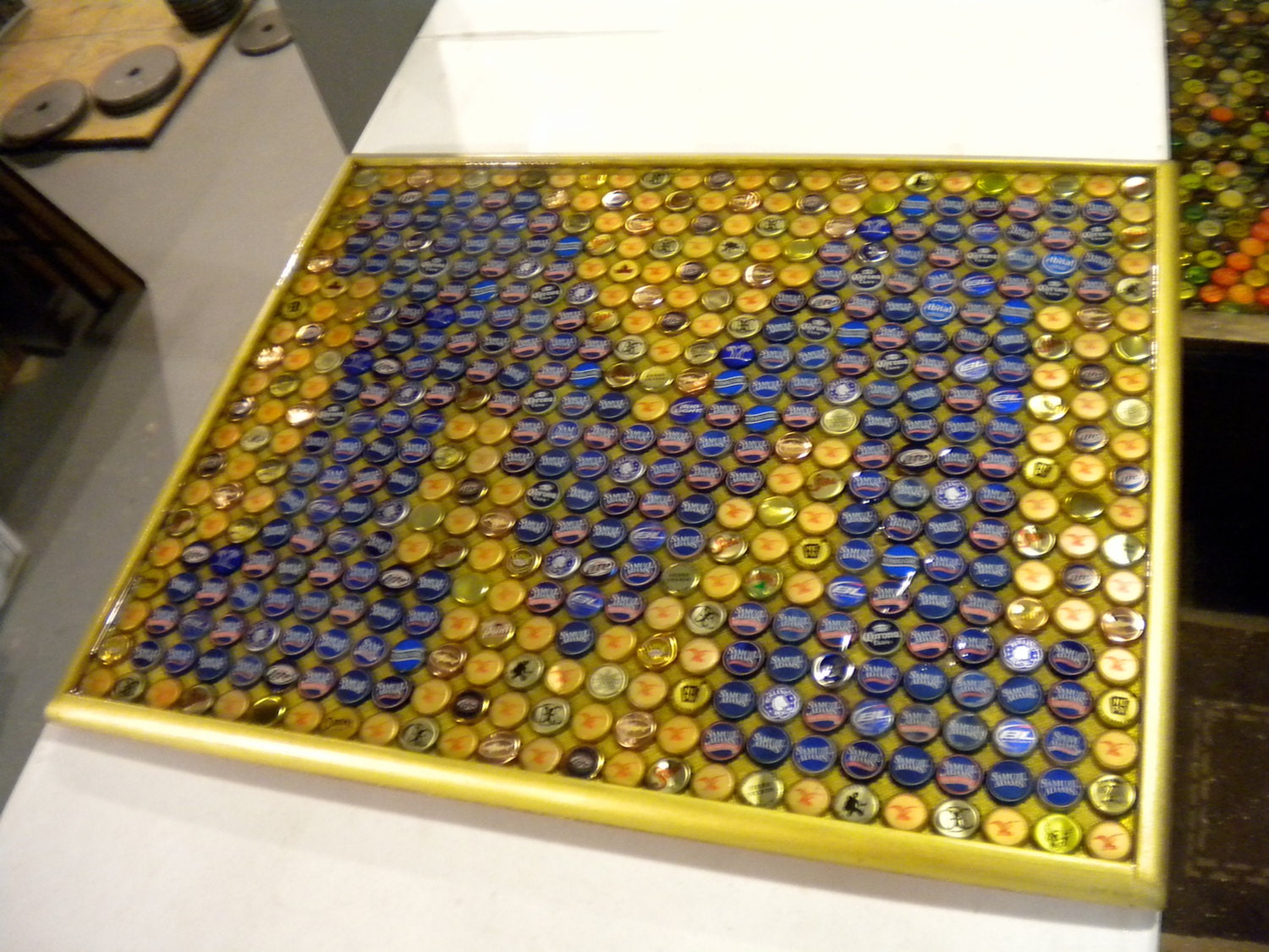 Bottle Cap Art Michigan Wolverines Block M Logo