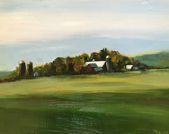 Oil painting of Vermont landscape, farm in summer.
