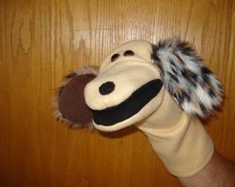 Dog hand puppet puppy puppets moveable black mouth sewn black felt nose classroom fun education home story time preschool supplies creative