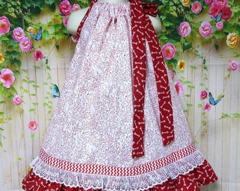 SUPER SALE  4T/5 Girl Dress, White, Red Hearts & Arrows Pillowcase Dress, Pillow Case Dress, Sundress, Boutique Dres