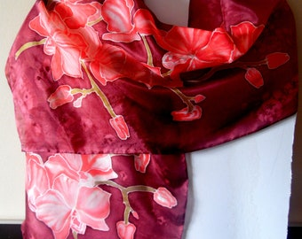 Natural burgundy silk scarf with pink orchids