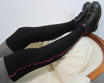 Black & Red Thigh High Socks Over the Knee Socks Leg Warmers Knit Boot Sock A1371