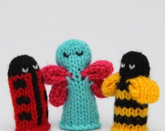 Bugs Finger Puppet Sets as seen in Parents Magazine  (Includes Bumble Bee, Lady Bug, Spider, Caterpillar, and Butterfly.)