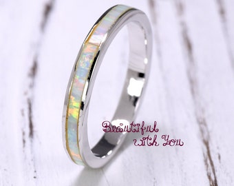 Opal Eternity Ring | 925 Sterling Silver White Opal Stackable Band | Unique Rings for Women | 3mm Eternity White Opal Band