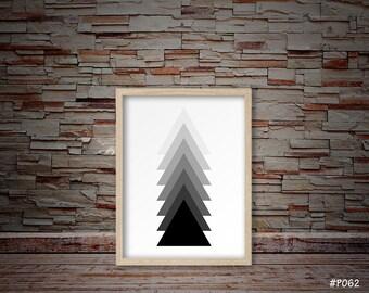 black triangle art, black triangle print, minimalist art, modern art, abstract art, geometric triangle prints #P062