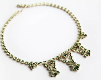 Vintage Green Rhinestone Choker Necklace ~ Hollywood Glamour Jewelry ~ Classy Retro Costume Jewelry ~ Wedding Bridal Jewelry ~ Gift for Her