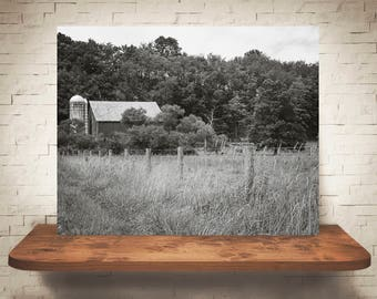 Barn Photograph - Fine Art Print - Black & White Photography - Wall Art - Wall Decor -  Farm Pictures - Farmhouse Decor - Field - Country