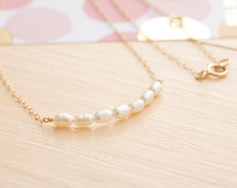 Gold Pearl Necklace - Freshwater Pearl Necklace  - Pearl Bar Necklace - Gold Filled Pearl Necklace - Bridesmaid Gift