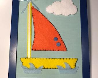 Sea boat baby nursery wall frame, handmade sea boat nursery wall frame, baby room wall frame, baby boy wall frame, kids room wall frame
