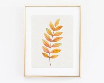 Botanical print - Autumn leaf print - Botanical print set - Printable botanical art - Scandinavian modern print - Botanical poster