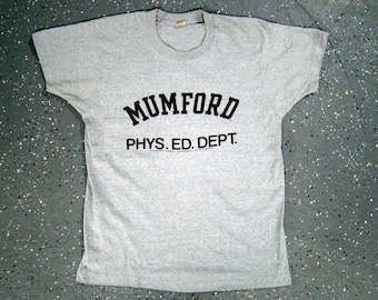 Mumford Phys. Ed. Dept. - Beverly Hills Cop Grey T Shirt Screen Stars Eddie Murphy 1984 (Medium)