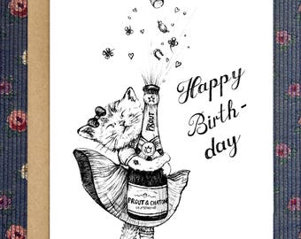 Happy Birthday/ Cheeky Greeting card/ printable card/  cat/ champagne/ cheeky funny illustration/ download/ Art print instant download