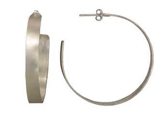 Mother hoop earrings gift, sterling silver 2 inches hoop, 3 inches stud hoop, large light hoop, boho earring,  plain jewelry,  modern hoop