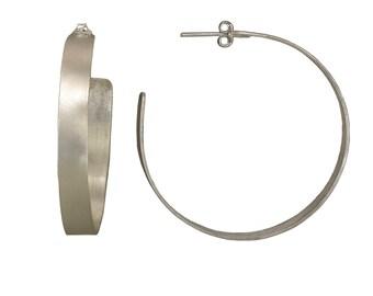 Sterling silver 2 inch hoop, large light hoop, big stud, boho earring, urban jewelry, plain jewelry, women gift, circle earring, modern hoop
