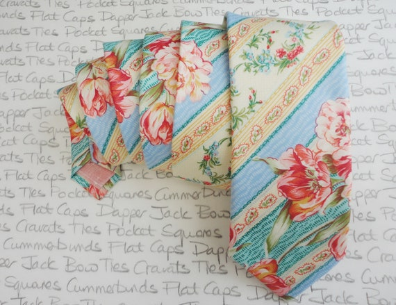 Stripe floral neck tie, wedding tie, pink and blue floral tie, ties for men.