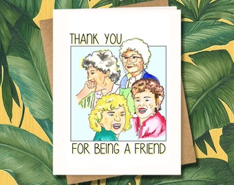 Golden Girls Greeting Card Shady Pines 80s Retro Gift Illustration Art Funny Miami Florida Bea Arthur Cute Dorothy Zbornak Thank You Friend