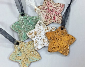 Star ornament, Christmas ornament, Speckled