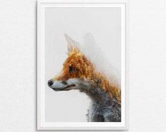Printable Art, Art Prints, Fox Print, Fox Wall Art, Fox Wall Decor, Fox Art Print, Fox Printable, Wall Art Prints, Double Exposure