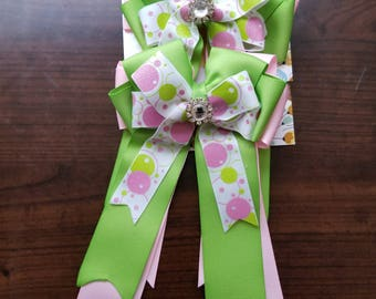 Pink & Green Bubbles Equestrian Show Bows (Grand Champion Size)