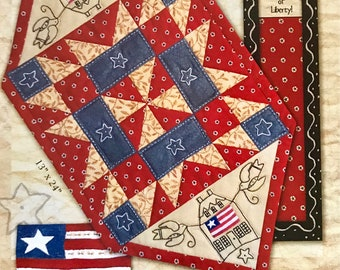 Home of the Free Pieced and Embroidered Tablerunner by Kathy Schmitz