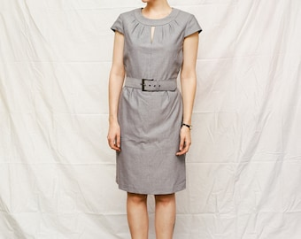 Sale! 1950's Vintage Dress. 'Love Dove'. Classic, glamorous, elegant, gray dress with keyhole