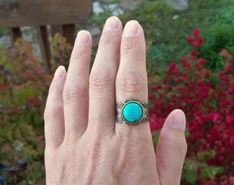 Rustic lace and Turquoise gemstone ring - Adjustable Filigree Band Ring, Gypsy ring, Boho Bohemian style