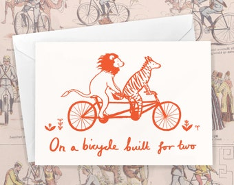 On A Bicycle Built For Two  - Animals on Bikes Valentine's Day Greeting Card by Emmeline Pidgen Illustration