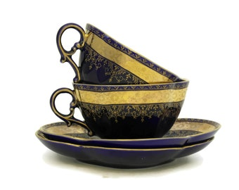 French Antique Teacups. Pair of Cobalt Blue and Gold Porcelain Cups and Saucers by Sarreguemines. Tea for Two Set.