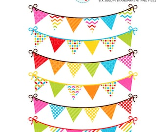 Bunting Clipart Set - rainbow brights - clip art set of patterned bunting, digital - personal use, small commercial use, instant download