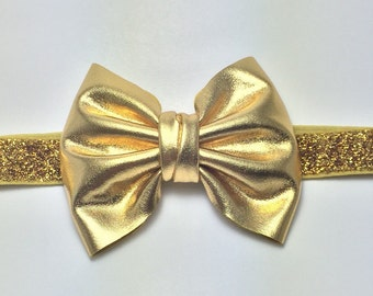 Gold bow headband. Metallic gold bow. Gold bow hairclip. Gold headband