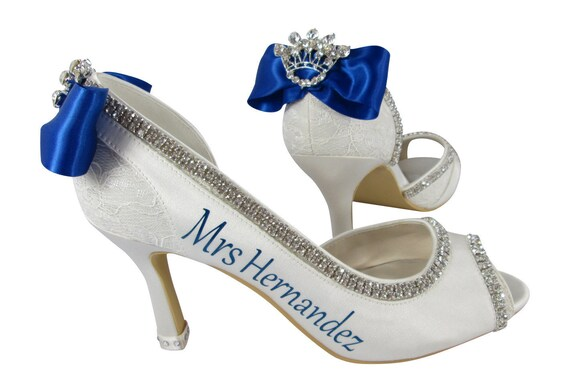 Toe 2 Personalized White Shoes High 3 Peep Ivory Princess inch heel royal 4 blue Bride's Last or New Name Heels Wedding q8Ygwta