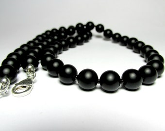 Mens Onyx Necklace, Matte Onyx Necklace, Mens Gemstone Necklace, Mens Beaded Necklace, Handmade Necklace, Gift for Him