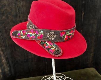 Red Felt Hat, Red Fedora, Fur Felt Fedora, ***SOLD***,  Large Brim Fedora, Unique Red Hat, Red Fur Felt Hat, Vintage Textile Trim,