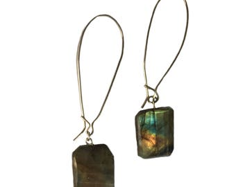 Labradorite Silver Kidney Handmade Earrings