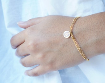 Personalized Bracelet Custom Bridesmaid Gift Initial Bracelet Mothers Day Gift Personalized Gift Gold Filled Rose Gold Bracelet Gift for Her