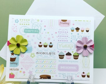 Cupcake Card, Cupcake Greeting Card, Handmade Cupcake Card, Note Card, Card for Friend, Blank Inside