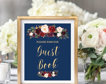 Guest Book Sign, Guest Book Reception Sign, Please Sign Our Guestbook, Printable Wedding Sign, Navy Blue, Watercolor, Burgundy Marsala #A003