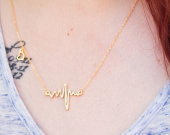 Heartbeat Necklace, Heartbeat Charm, Heartbeat Pendant, Heartbeat Jewelry