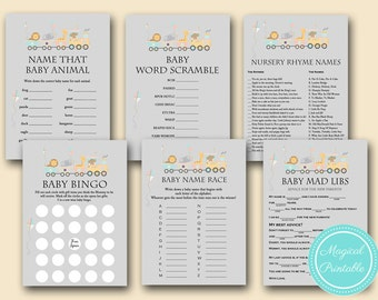 Jungle Baby Shower Games Package, Safari Baby shower game pack, Train baby shower games, choo choo train baby shower games, kite TLC54