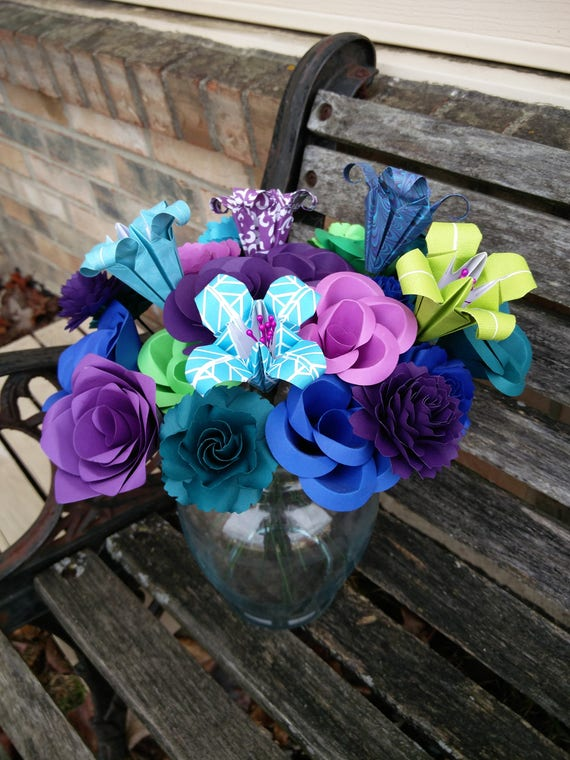 Peacock Paper Flower Bouquet.  Or CHOOSE YOUR COLORS. Wedding, Anniversary, Centerpiece.