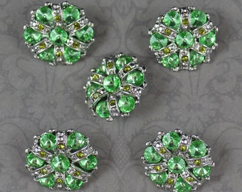 Set of 5 Large Round Silver Peridot Rhinestone and Crystal Buttons