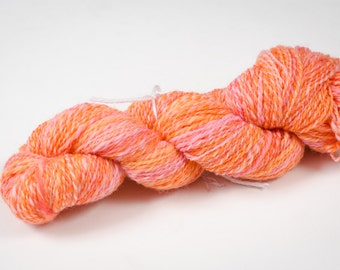 """242 Yards worsted weight - Hand Spun and Hand Dyed 100% Wool Yarn in """"Bubblegum"""" colorway"""