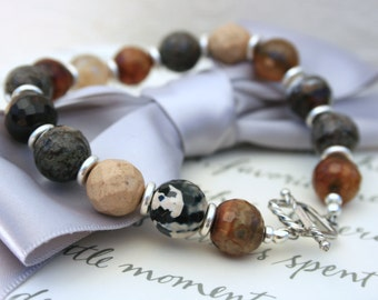 Agate and Jasper bracelet with silver accents and sterling toggle