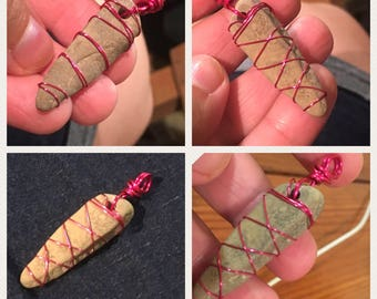 Pink wire and Stone Pendant