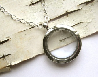 SMALL Glass Memory Locket, for photo keepsakes, charms, love notes - 24 inch sterling chain