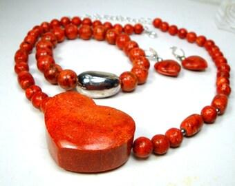 Red Sponge Coral Necklace Set, Earrings, Bracelet also, Apple Coral Beads, OOAK R Starr
