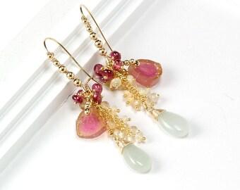 Gold Watermelon Tourmaline earrings - Beaded earrings of Rubellite Tourmaline, Lemon Quartz, Ethiopian Opal, Aquamarine gemstones in Gold