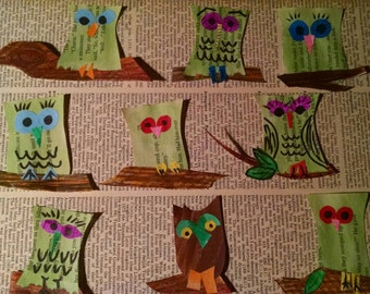 Little owls resting on branches decorate journals and scrapbooks repurposed paper