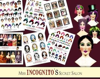 NEW-Hair Studio Paper Doll Digital Collage Print Sheet no226