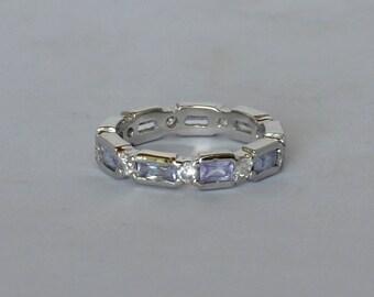 Vintage Sterling Ring Band Lavender Rhinestones Emerald Cut Size 8 1/2 Rhodium Coated